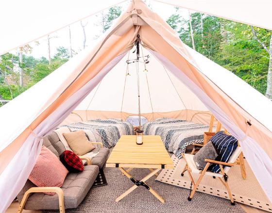 Stay 泊まる 選べる4つのテントサイトと5つの点とスタイル